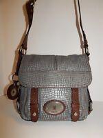 Fossil Long Live Vintage Gray Brown Snake Leather Crossbody Bag