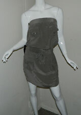 New Women 100% Silk Bebe Sexy Solid Brown Sleeveless Tube Dress Size S