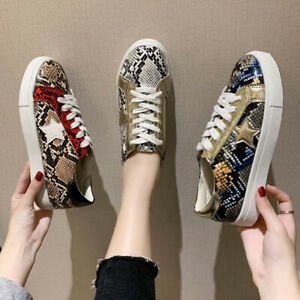 New Large Size Women's Flat Shoes European American Snake Print Lace Round