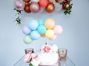 BALLOON CAKE TOPPER GARLAND BRIDE BIRTHDAY WEDDING ENGAGED PASTEL BALLOONS PINK