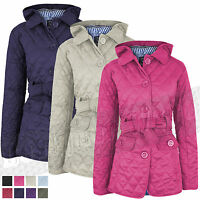 Ladies Womens Quilted Padded Hooded Hoody Rain Coat Jacket Fleece 8 - 14