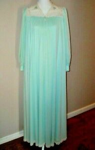1960s Lucie Ann Light Blue Nightgown with White Lace Trim  60s Blue Long Flowy Nightgown