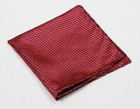 Battaglia Beverly Hills Red/Black Print Design Hand Rolled Pocket Square