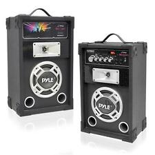 New PSUFM835A Pair of 800W 2-Way PA Speakers USB/AUX Input & DJ Flashing Lights