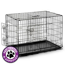 "48"" Extra Large Portable Folding Dog Crate Cage XL XXL Kennel w/ Divider Black"