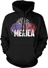 MERICA Fireworks USA Pride Patriotic American Red White and Blue Hoodie Pullover