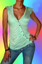 Sexy Miss Femme V Top Décolleté Raff Chemise Boutons Asymétrique 36/38 Neuf Mint
