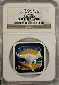 Australia 1 Dollar 2013 P NGC PF 70 Ultra Cameo UNC Silver 1oz. Summer Seasons