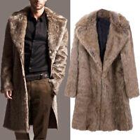 Mens Warm Plus Thicken Long Coat Jacket Faux Fur Parka Outwear Cardigan Overcoat