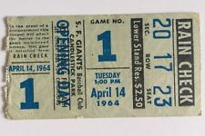 1964 Giants Vs Braves  Game 1 Candlestick 4/14 Ticket Stub Willie Mays Home Run