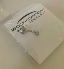 Clear Gem Stainless Steel Belly Ring 14 Gauge