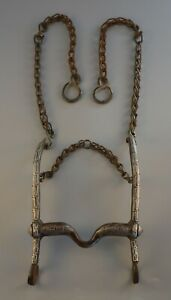 Antique Spanish Colonial Horse Bit - Inlaid Silver Copper - Amozoc Puebla Mexico