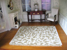 dollhouse doll house miniature FANCY WOVEN RUG CARPET ANTIQUE WHITE SCROLL