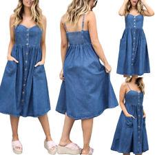 Womens Summer Strappy Denim Dress Ladies Jeans Pocket Party Career Midi Dresses