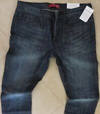 GUESS Mens Dark Wash Distressed Slim Straight Stretch Jeans 31 X 32