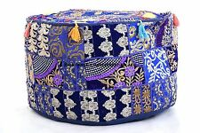 Indian Round Ottoman Vintage Patchwork Pouf Cotton Footstool Pouffe Floor Decor
