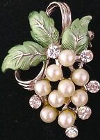 Cluster of Grapes Faux Pearl Brooch Leaves Pin Vintage Jewelry