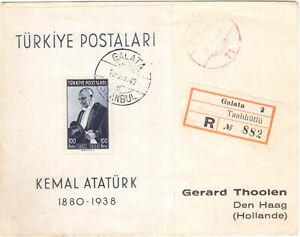 1940 TURKEY REGISTERED COVER FDC. RARE