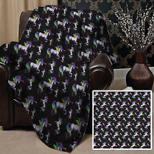BLACK RAINBOW UNICORN DESIGN SOFT PICNIC BLANKET THROW COVER GREAT GIFT