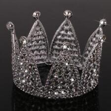 Crystal Rhinestone Side Round Crown Woman Bridal Tiara for Wedding Birthday