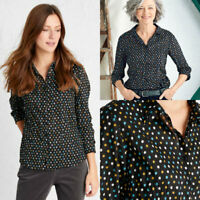 Ex SEASALT Womens Larissa Black Onyx Polka Dot Spot Cotton Crinkle Blouse Shirt