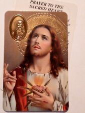 SACRED HEART ~ Prayer ~ Embossed Medal ~ CREDIT CARD SIZE ~ PACK OF TWO
