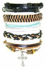Set Of 5 Bead / Cord & Leather Surf Surfer Style Bracelets Wristbands Adjustable