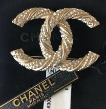 NWT Authentic CHANEL  2014 CC Gold Crystal Rhinestone Brooch
