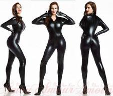 Black Catwoman False Leather Wetlook Jumpsuit Catsuit Clubwear Fancy Dress 7055