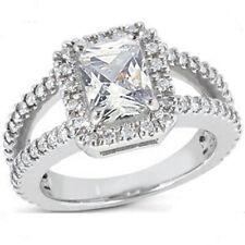 1.50 carat center Radiant cut brilliant Diamond Solitaire Halo Engagement Ring