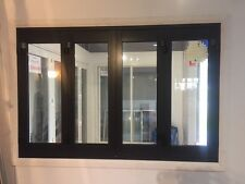 ALUMINIUM BIFOLD WINDOW 4 PANEL, NEW 2400 x 1200h, BLACK