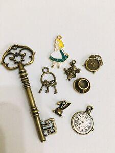 8 Alice In Wonderland Charms  Clocks Keys Antique Bronze Ideal Jewellery Making