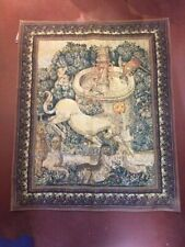 Contemporary French Cotton wall tapestry  Lion Unicorn Birds Fountain