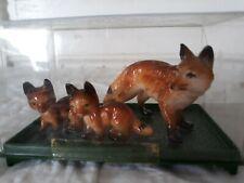 Vintage Enesco Miniature Fox Toy Figures Hard Plastic Hong Kong Nature Study Set