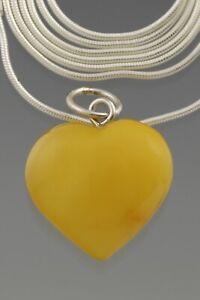 Genuine BALTIC AMBER Silver Egg Yolk HEART Chain Pendant 3.2g 210615-11