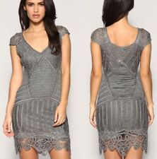 KAREN MILLEN CROCHET COCKTAIL DRESS - GREY WITH SILVER BEADS - SIZE MEDIUM