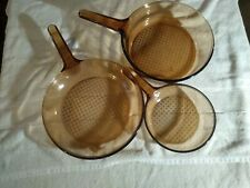 """Corning Vision Ware Amber 10"""" Fry Pan Waffle Bottom Cookware plus 2 other"""