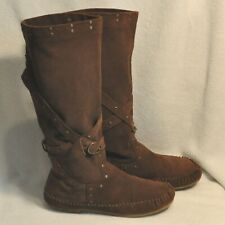 BC Tall Brown Faux Suede Boots Size 10 Women Unisex Reenactment Slip Ons Flats