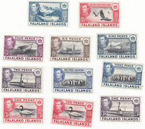 FALKLAND ISLANDS Scott # 85 - 92 KG VI set from 1 d to 1/ 3 values MINT F/VF