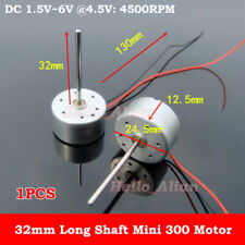 DC 1.5V-6V 3V 4.5V 4500RPM Micro Mute 300 Solar Power Motor 32MM Long Shaft DIY