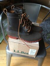 "LL BEAN 8"" Bison Brown Leather Bean Boots Winter Snow Women's Size 10 M NIB"