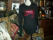 COCA COLA Black Raven Lip Stick Red Logo Blouse Size XL jr NWOT