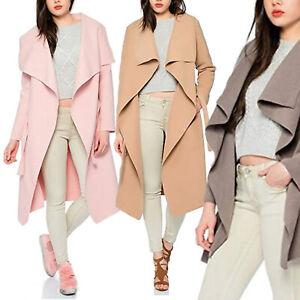 Damen Wasserfall Trench-Coat Damenjacke Herbst-Mantel Übergangs-Jacke
