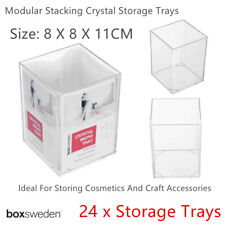 24x Clear Acrylic Organizer Storage Container 8x11cm Makeup Trays Stackable Box