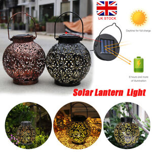 Solar Powered LED Light Lantern Hanging Outdoor Garden Lamp Morrocan Decor Yard