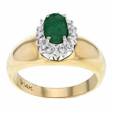 Emerald 14k Solitaire with Accents Fine Rings