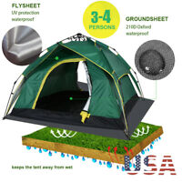 Auto Hydraulic 3-4 Person Double Layer Camping Tent Waterproof Family Pop Up US