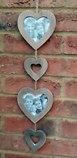 "Double Heart Photo Frame Wall Rustic Hanging Fits 4"" Picture Family Photos"