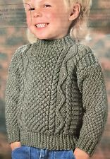 "K38 - Knitting Pattern - Children's Aran Jumper Child's - 22 - 30"""