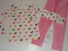 Gymboree Cheery All The Way Girls Size 4 Top Dog Puppy Pink Velour Leggings NWT